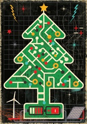 Circuit board Christmas tree connected to renewable energy