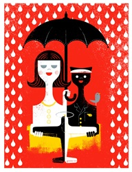 Portrait of woman and black cat wearing uniforms, holding umbrella and toy airplane