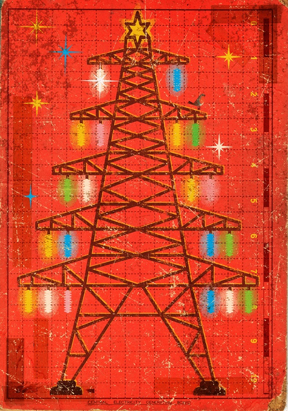 Electricity pylon decorated as Christmas tree