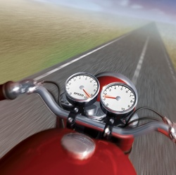Gauges on speeding motorcycle