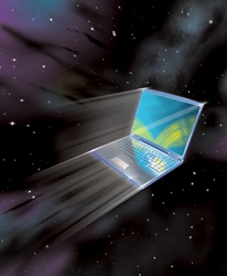 Laptop computer moving at high speed in outer space