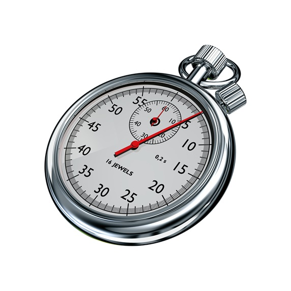 Silver stopwatch on white background Stock Images