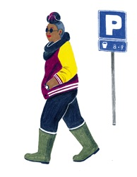 Woman moving past parking sign