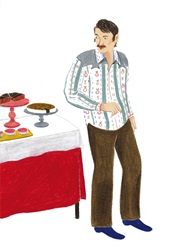 Man standing by table with cakes
