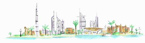 Watercolour of tall modern skyscrapers in Dubai contrasting with traditional architecture
