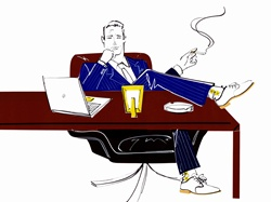 Arrogant businessman smoking cigarette with feet on desk