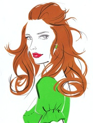Portrait of redhead woman in green blouse