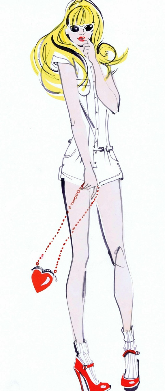 Blond young woman with heart shape purse