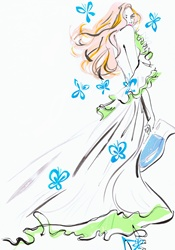 Glamorous woman in flowing dress carrying water and surrounded by butterflies