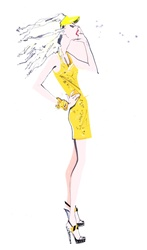 Fashion model in yellow dress shouting