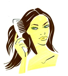 Brown haired woman combing hair