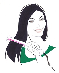 Black haired woman straightening hair