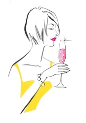 Woman with pink lipstick and drink