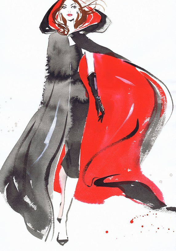 Fashion illustration of model wearing black dress and cloak