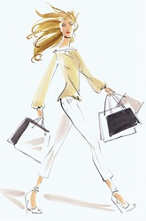 Beautiful woman striding with shopping bags