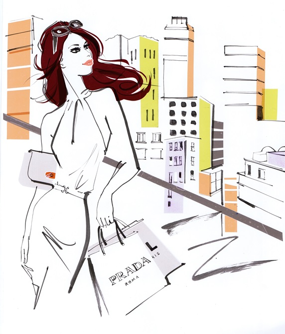 Elegant young woman holding shopping bags, looking at cityscape from balcony