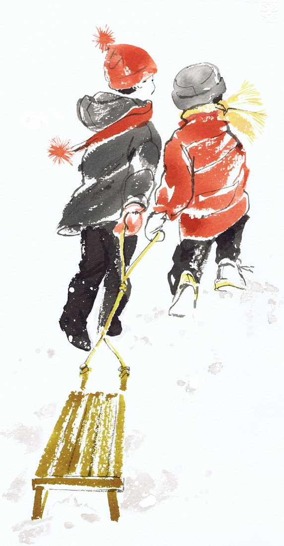 Rear view of two children pulling sled on snow