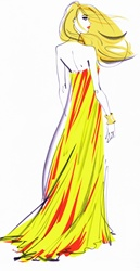 Rear view of beautiful woman wearing yellow and red striped evening gown