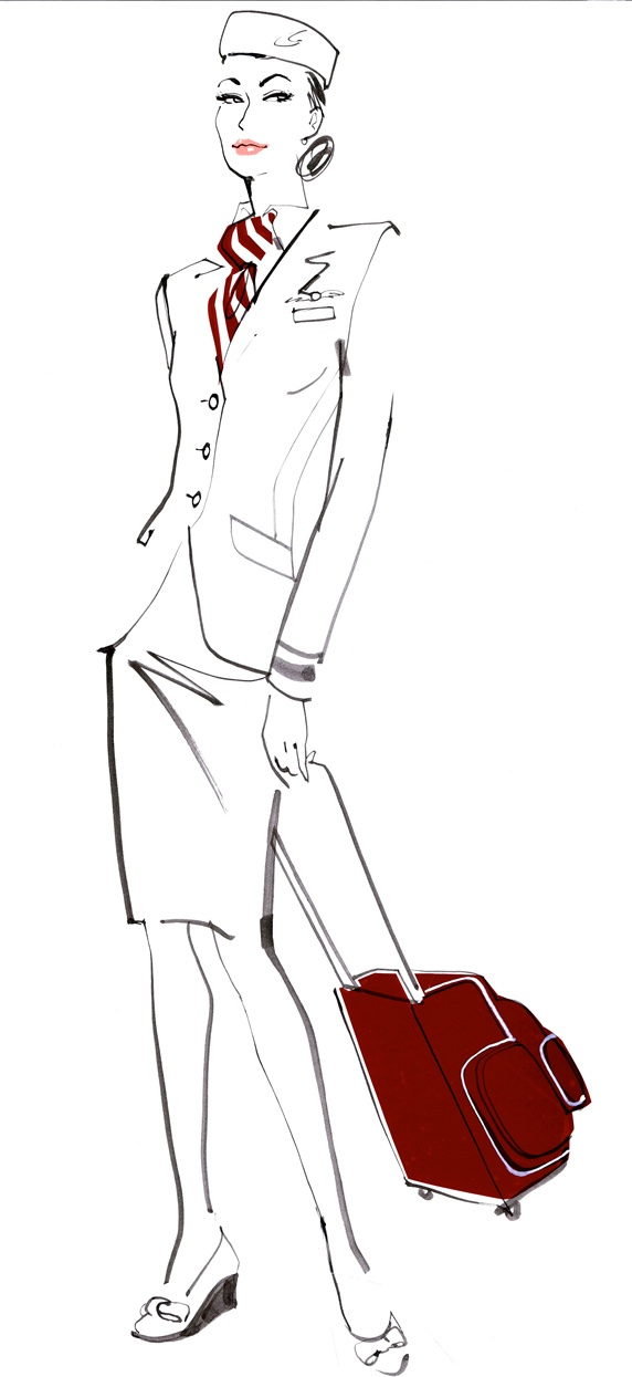 Portrait of female air stewardess wearing uniform and holding suitcase