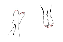 Women's feet with red nail polish