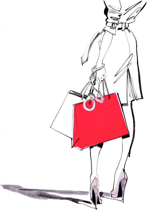 Woman holding shopping bags and handcuffs