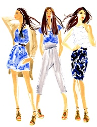 Three fashion models in various outfit