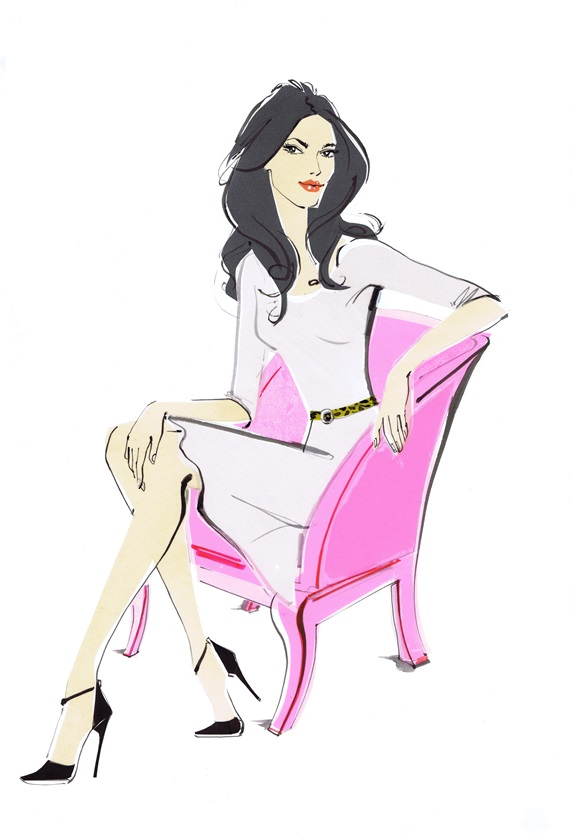 Portrait of elegant woman sitting in pink armchair