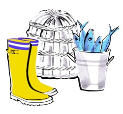Yellow rubber boots and bucket of freshly caught fish