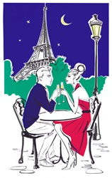 Romantic couple toasting with Champagne at night, Eiffel Tower in background