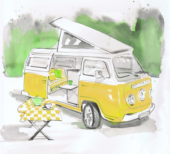 Table in front of open vintage yellow van