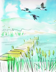 Watercolour painting of geese flying over tranquil lake