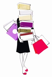 Woman loaded with shopping
