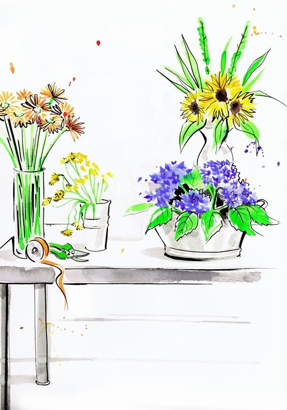 Watercolour painting of flower arranger's workbench