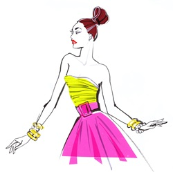 Fashionable woman wearing yellow off shoulders top and pink skirt