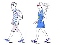 Teenage boy and girl walking