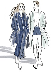 Couple wearing bathrobes