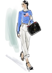 Fashionable woman with black purse