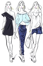 Three fashionable young women