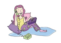 Pink haired woman leaning against cushions and speaking on phone