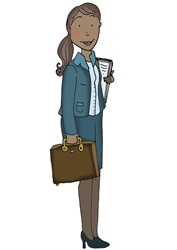 Female office worker standing with bag and notebook