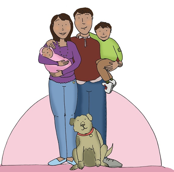 Family with two children and dog posing to photograph