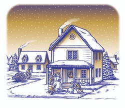 Houses in snow and Christmas tree, children making snowman