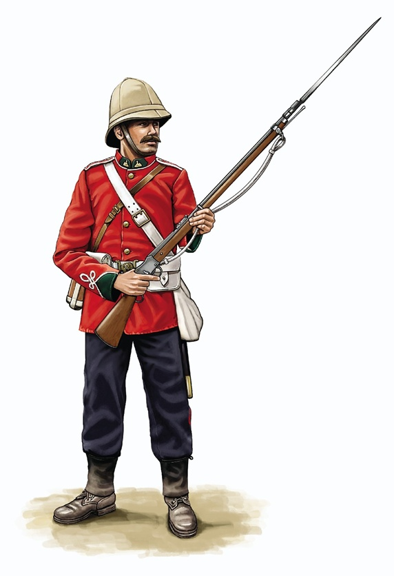Army solder wearing red military uniform and beige army helmet holding gun
