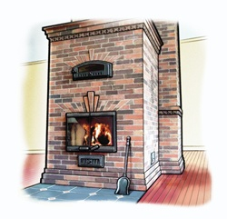 Brick wall and fireplace at home