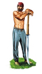 Shirtless warrior with large knife