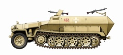 Side view of beige military vehicle, white background