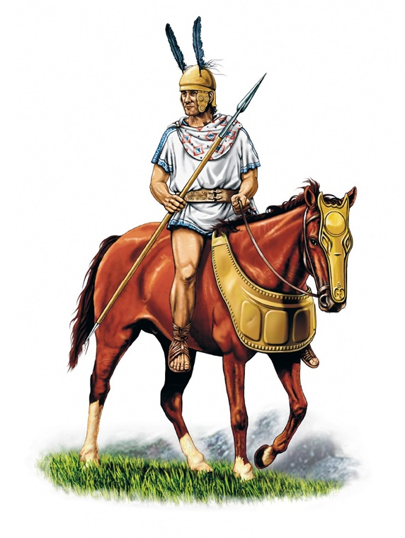 Roman warrior with lane on horse