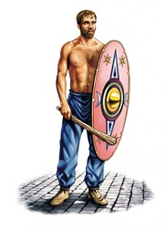Shirtless warrior with mace and shield