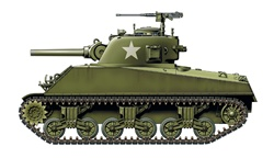 Side view of green tank, white background