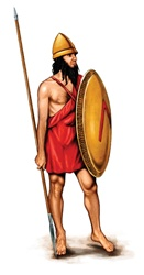 Army soldier with lance and shield in red tunic and barefoot